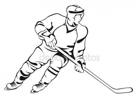 450x315 Hockey Player, Silhouette Stock Vector Chebanova