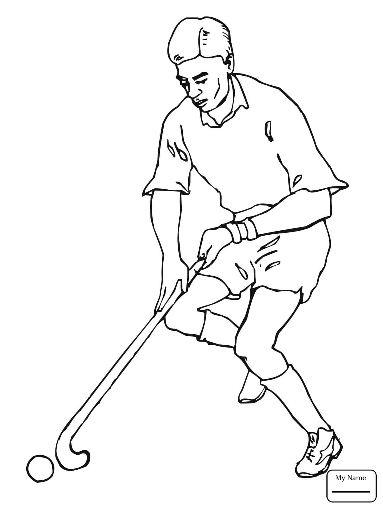 1224x1632 Boy With Field Hockey Stick And Ball Sports Coloring Pages
