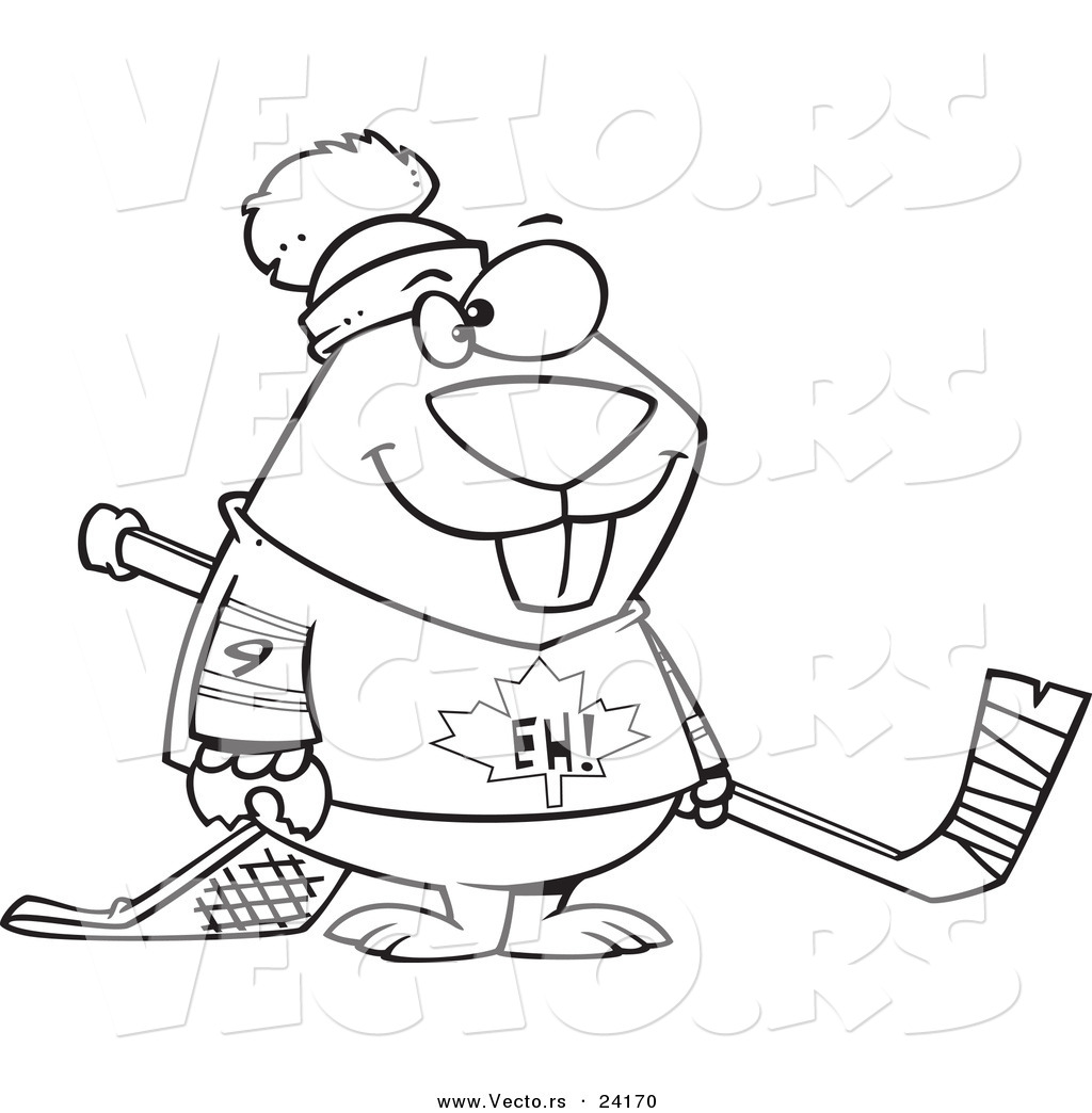 1024x1044 vector of a cartoon hockey beaver