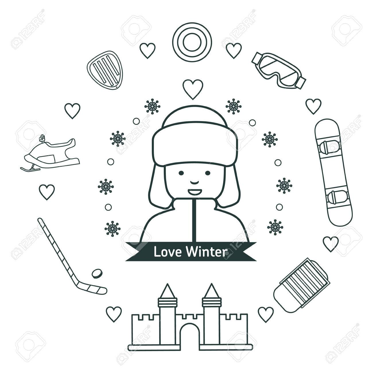 1300x1300 Winter Kids Activities Line Icon Set. Boy With Winter Vacation