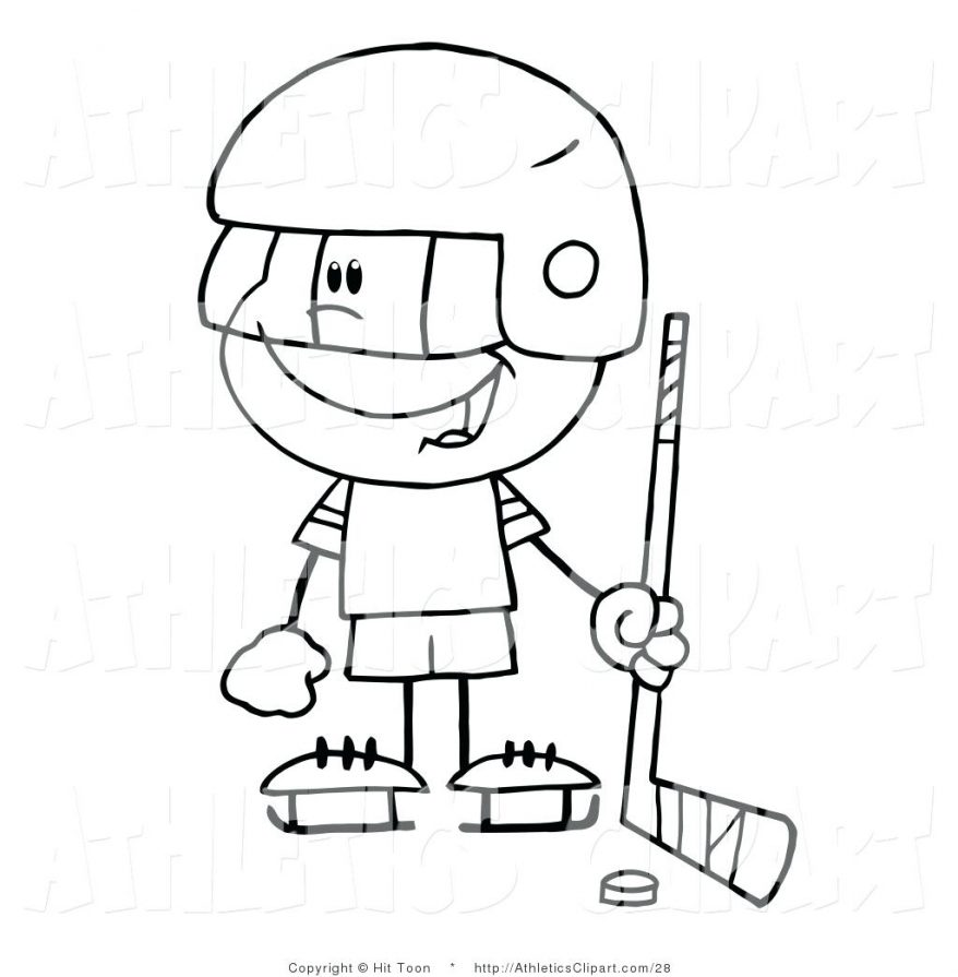 878x895 Clip Art Of A Coloring Page Little Boy Playing Hockey Goalie 56