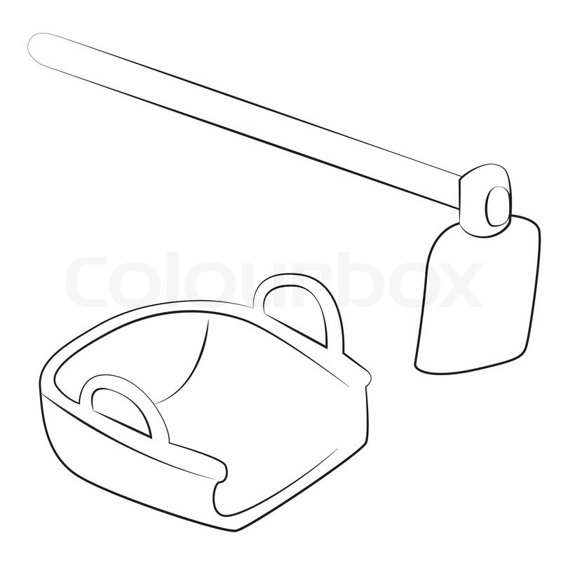 800x800 Black Outline Vector Hoe And Bucket On White Background. Stock