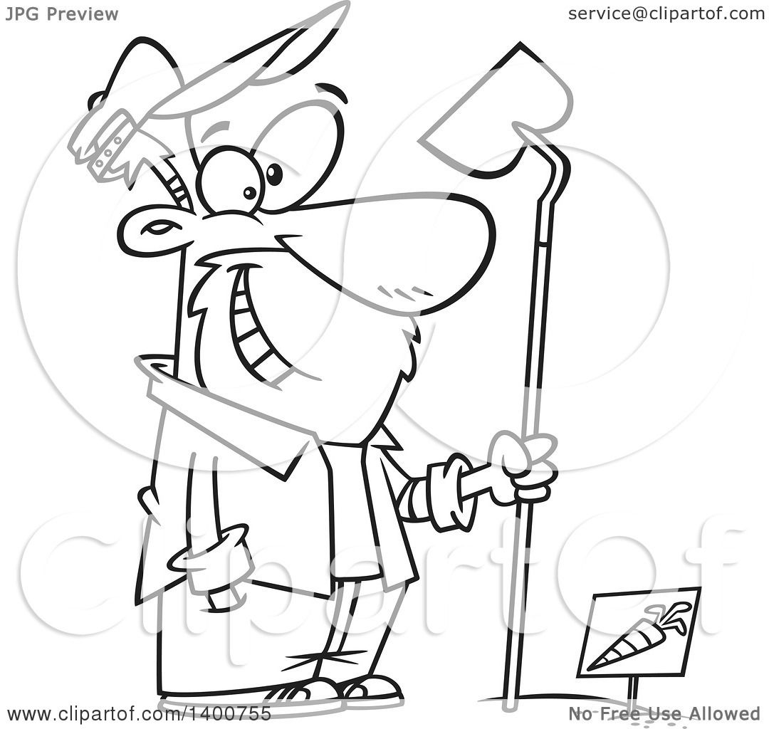 1080x1024 Clipart Of A Cartoon Black White Man Holding A Hoe