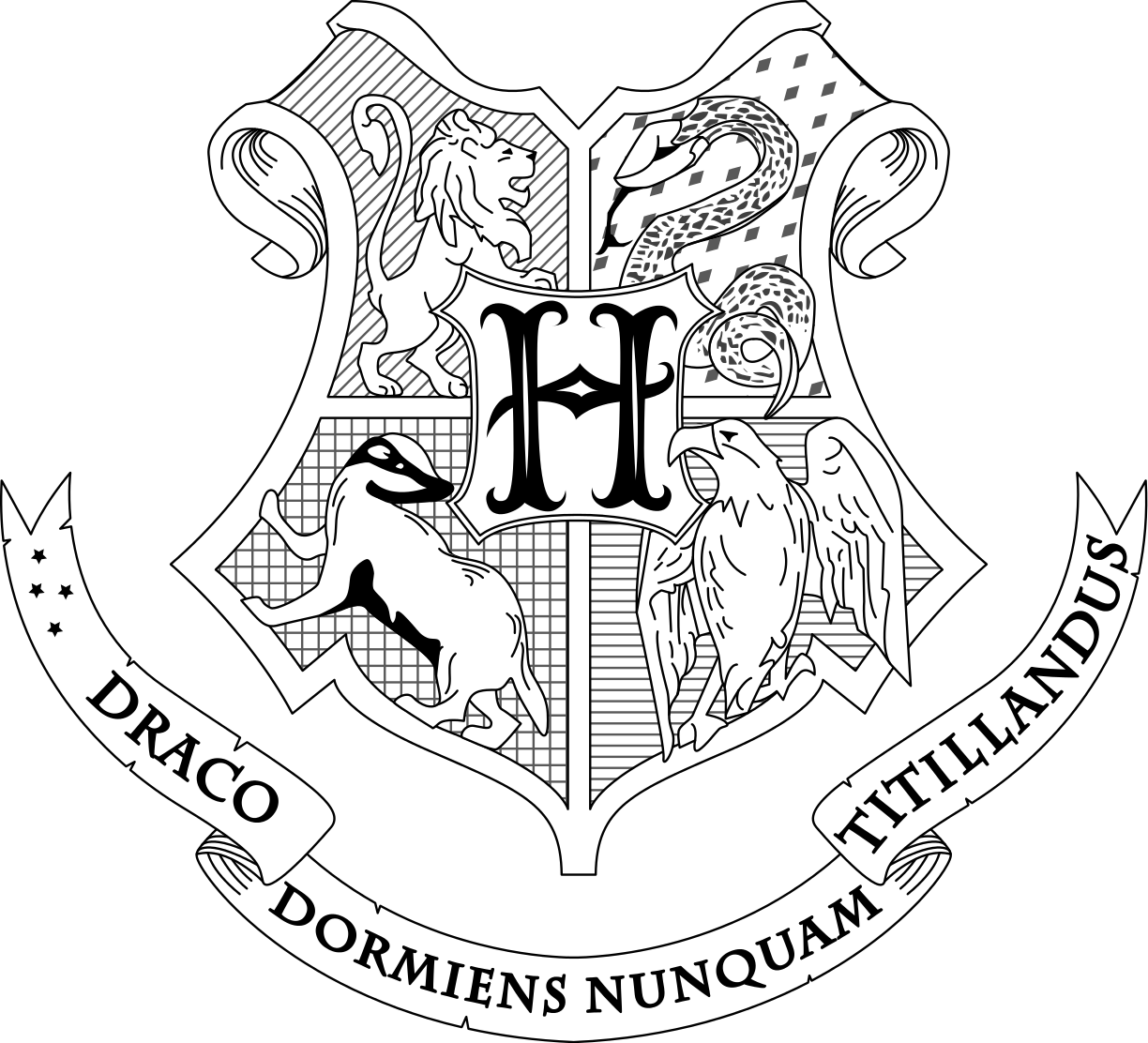 1224x1112 Hogwarts Coat Of Arms. Draco Dormiens Nunquam Titillandus