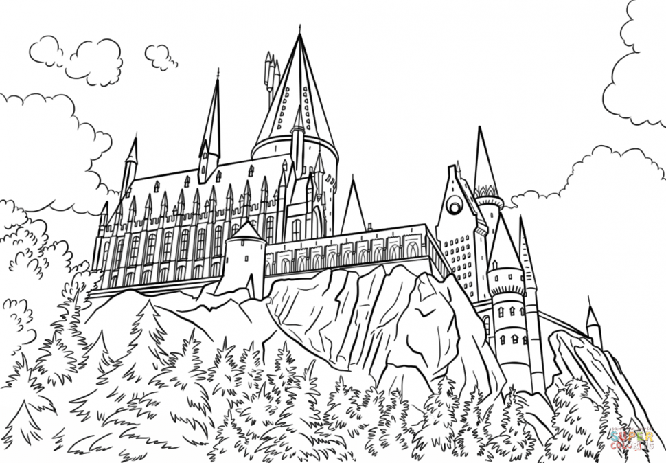 970x674 Coloring Coloring Hogwarts Castle Page Free Printable Pages Book