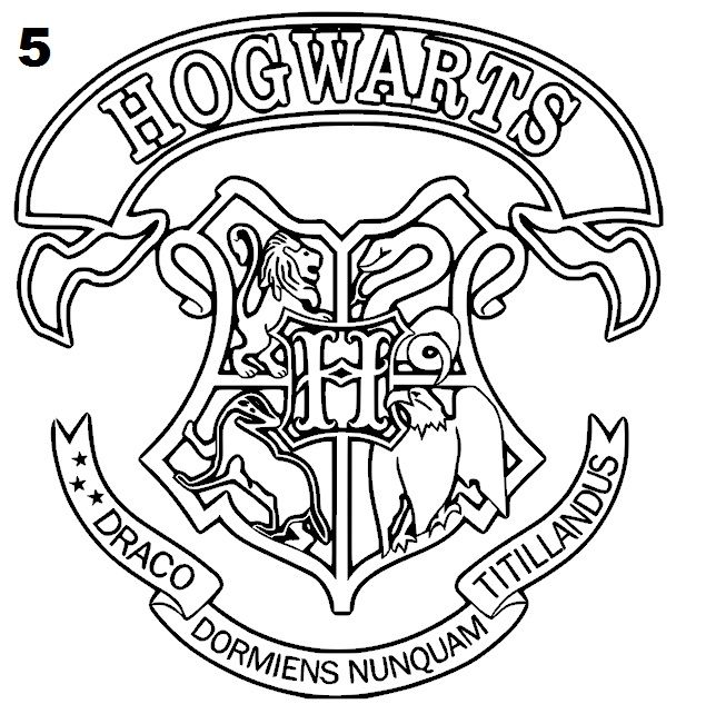 635x633 Hogwarts Crest Coloring Page