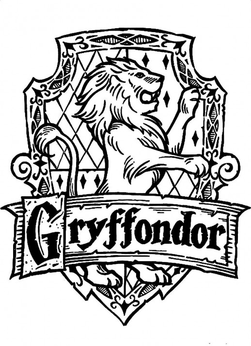 518x713 Symbol Of Gryffondor A Standing Lion Harry Potter Coloring Pages