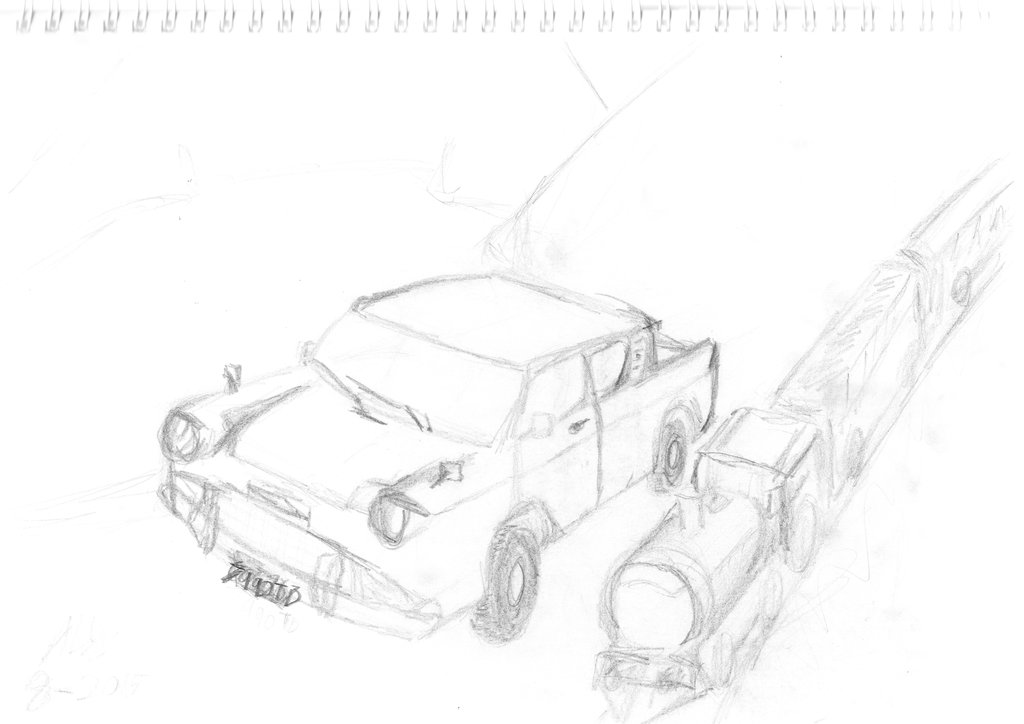 1024x724 Ford Anglia Flying Over Hogwarts Express Hp By Kensaikitsune