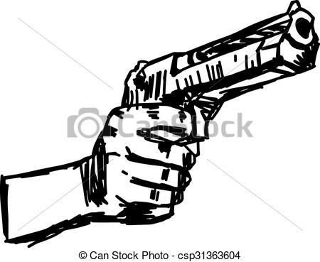 450x369 Drawn Gun Hand Drawing