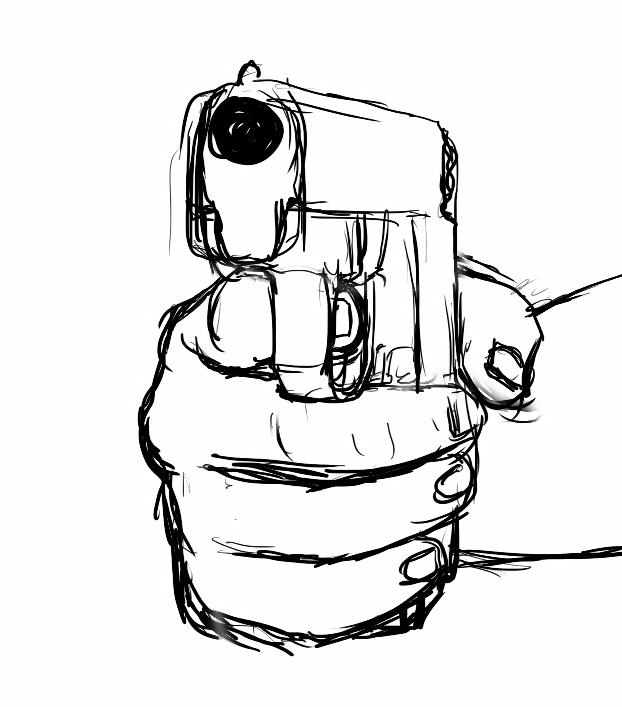 622x707 Gun In Hand Drawing Gun Clipart Panda