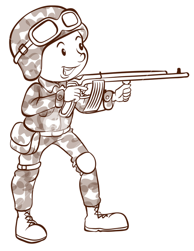 772x1000 A Plain Drawing Of A Soldier Holding A Gun On A White Background