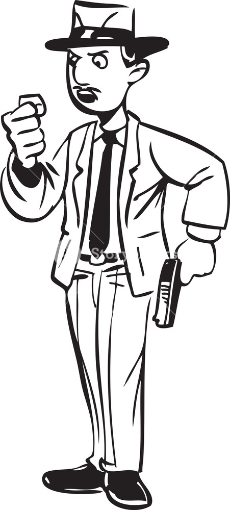 451x1000 Illustration Of A Man Holding A Gun. Royalty Free Stock Image
