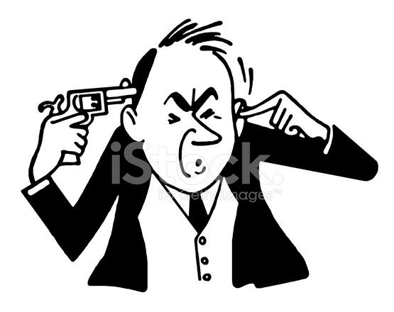 555x440 Man Holding Gun To His Head Stock Vector