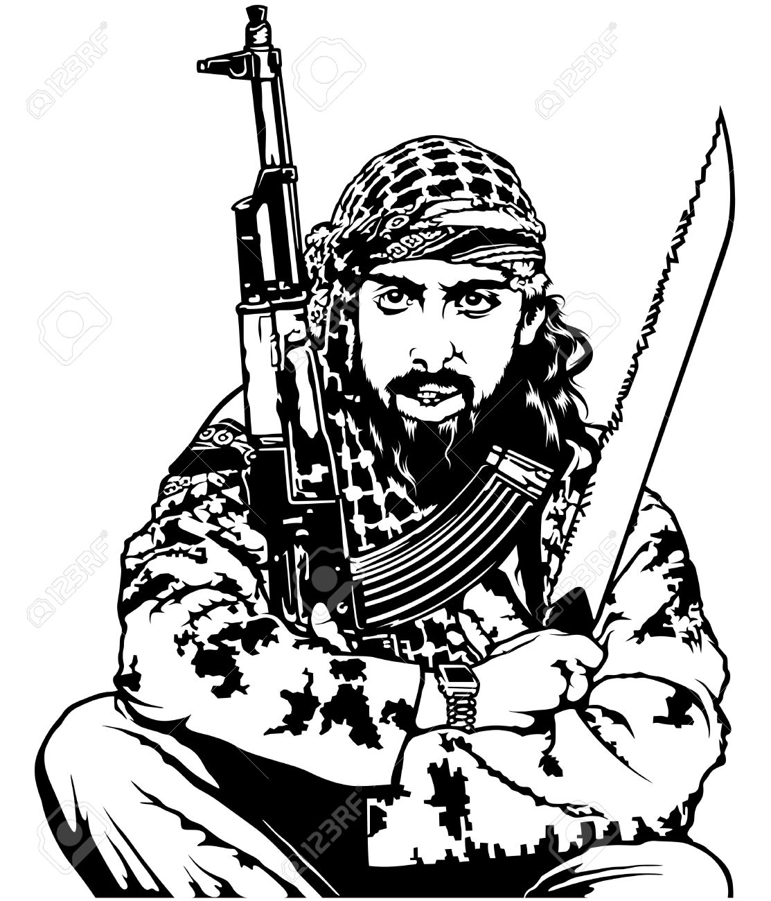 1113x1300 Sitting Terrorist Holding Long Knife And Submachine Gun