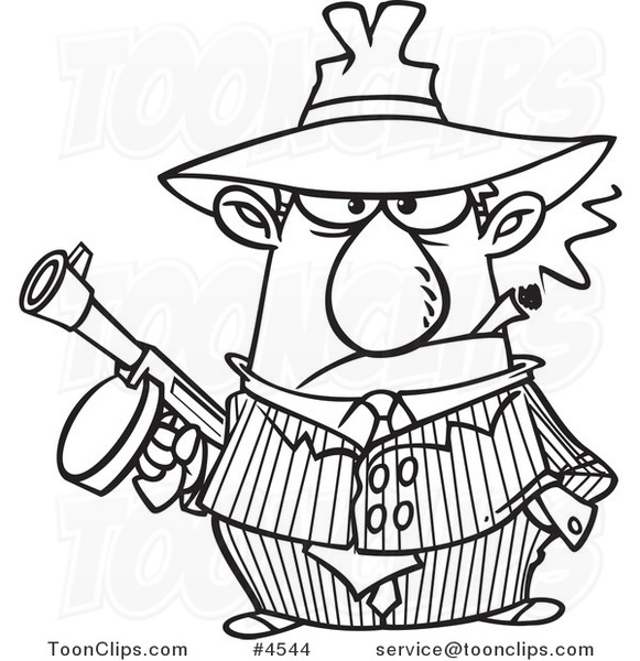 581x600 Cartoon Black And White Line Drawing Of A Gangster Holding A Gun