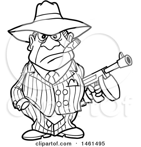 450x470 Clipart Of A Cartoon Black And White Gangter Holding A Tommy Gun