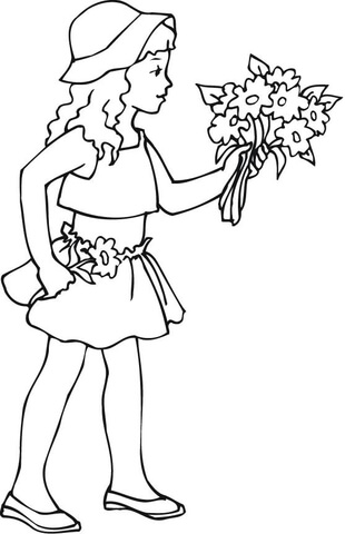 310x480 A Girl Holding A Bouquet Of Flowers Coloring Page Free Printable