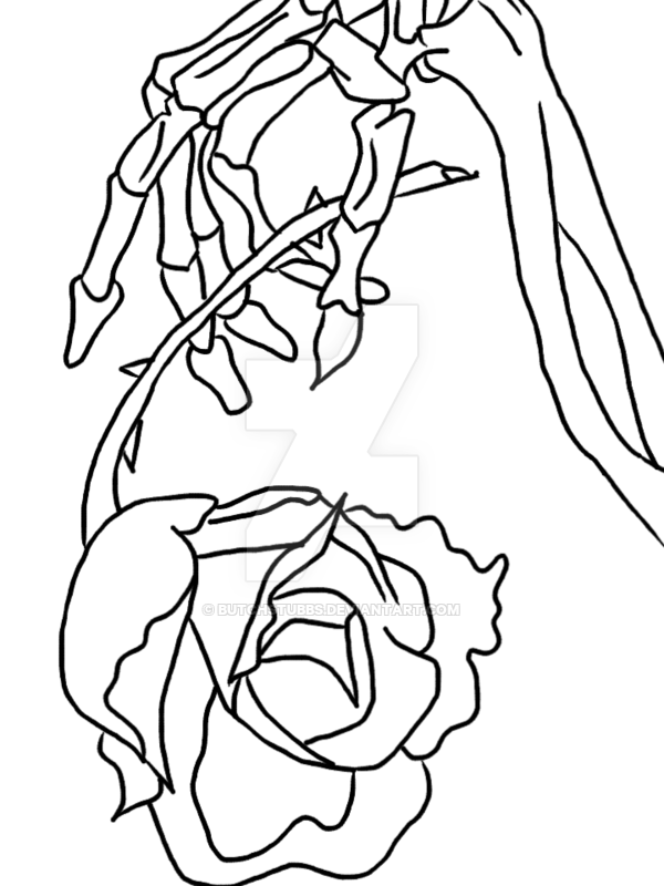 600x800 Skeleton Hand Holding A Rose By Butchstubbs