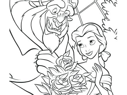 440x330 Beauty And The Beast Rose Coloring Pages As Well As Belle Holding