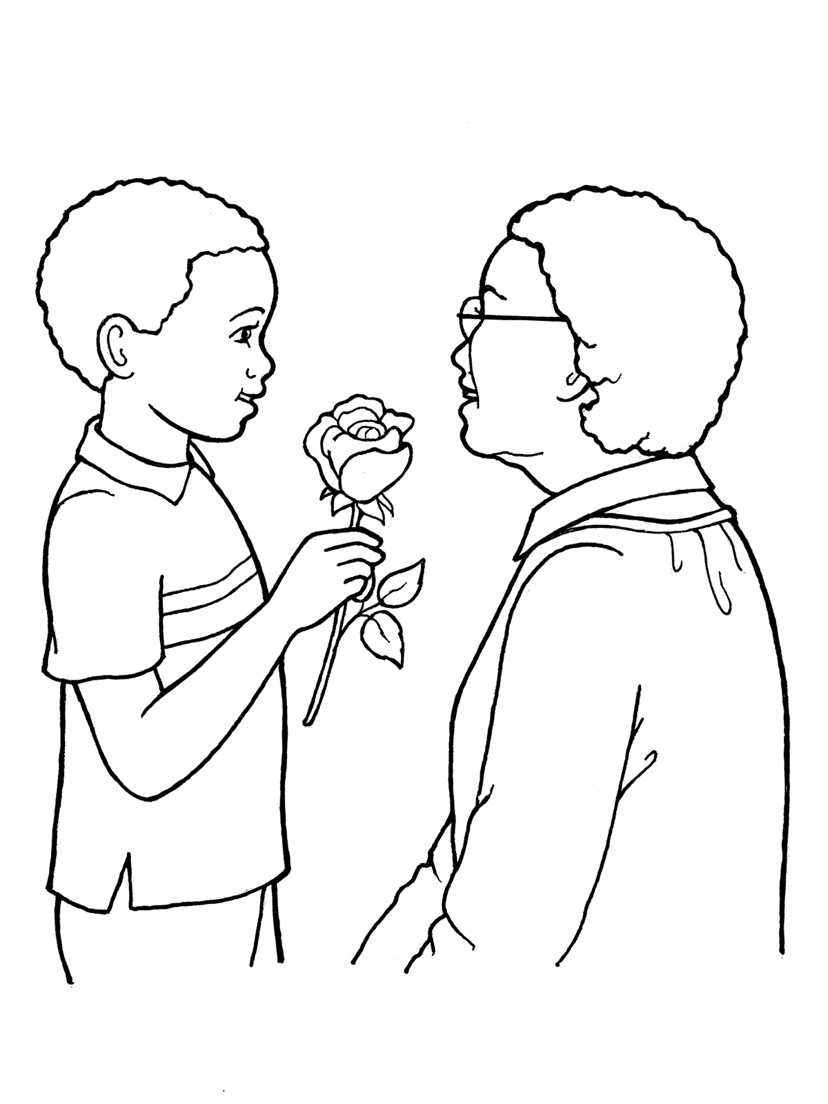 1200x1600 Boy Giving Flowers To An Older Woman