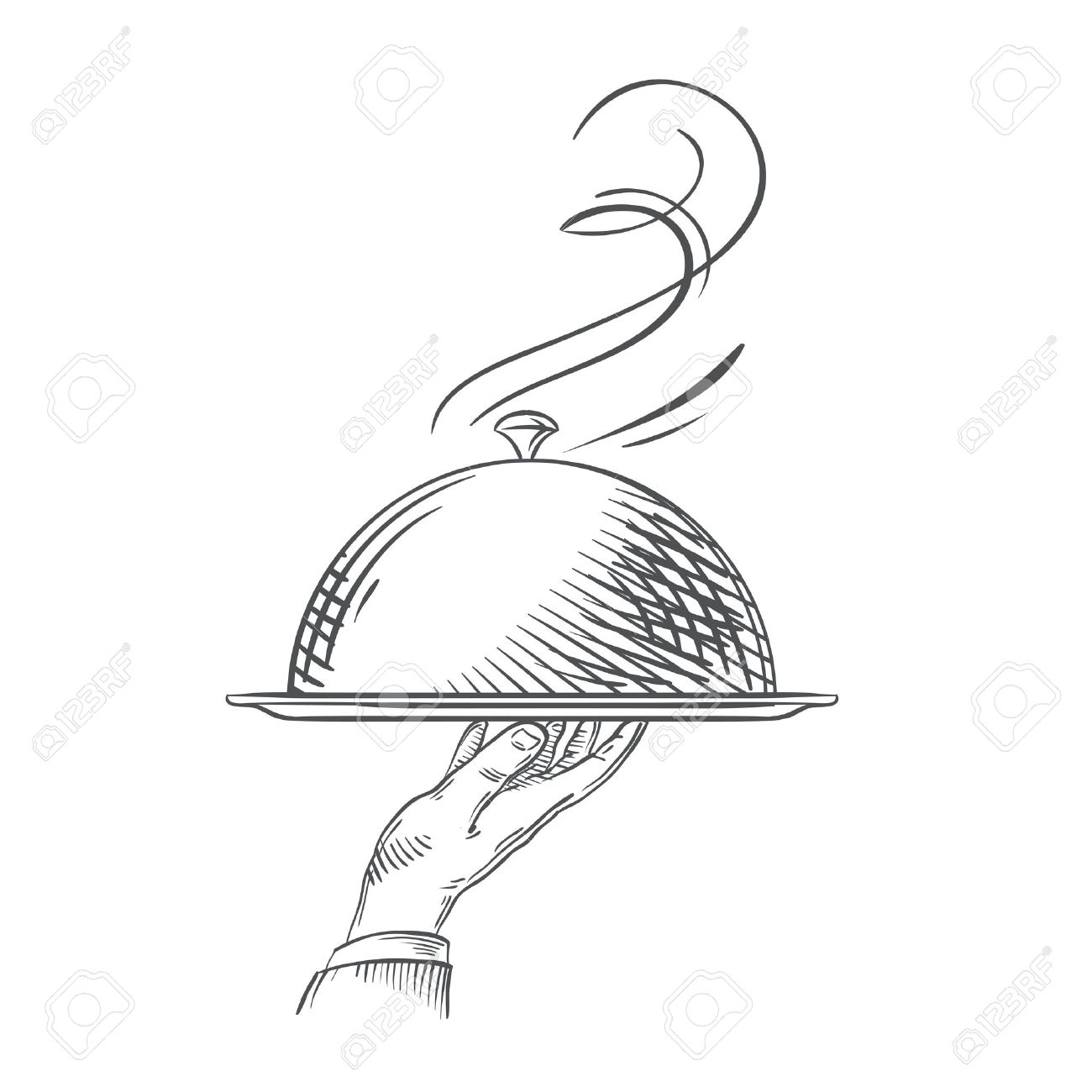 1300x1300 Hand Drawn Sketch Of A Hand Holding A Tray Of Food. Vector
