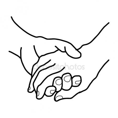450x450 Continuous Line Drawing Of Holding Hands Together Stock Vector
