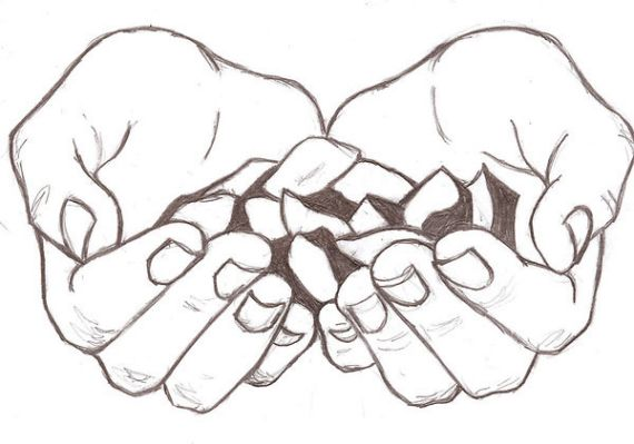 570x399 How To Draw Cupped Hands Image Artsy People Hand