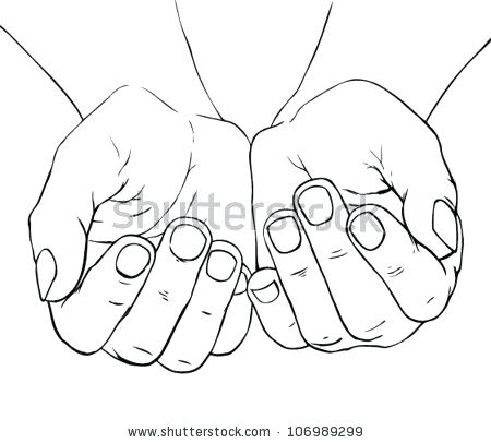 450x406 Draw Holding Hands Hand Drawn Illustration Of Cupped Female Hands