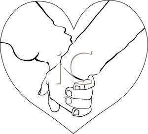 300x273 Black And White Cartoon Of A Couple Holding Hands
