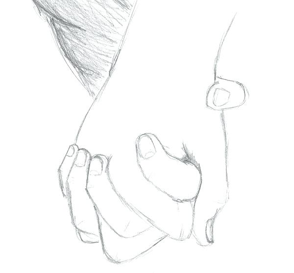 600x557 Draw Holding Hands How To Draw 2 People Holding Hands Drawing