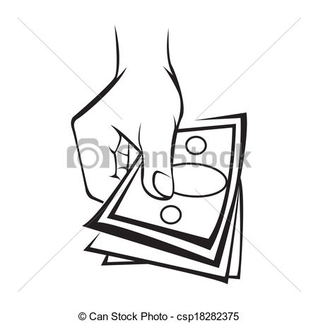 450x457 Hand Holding Money Vectors Illustration