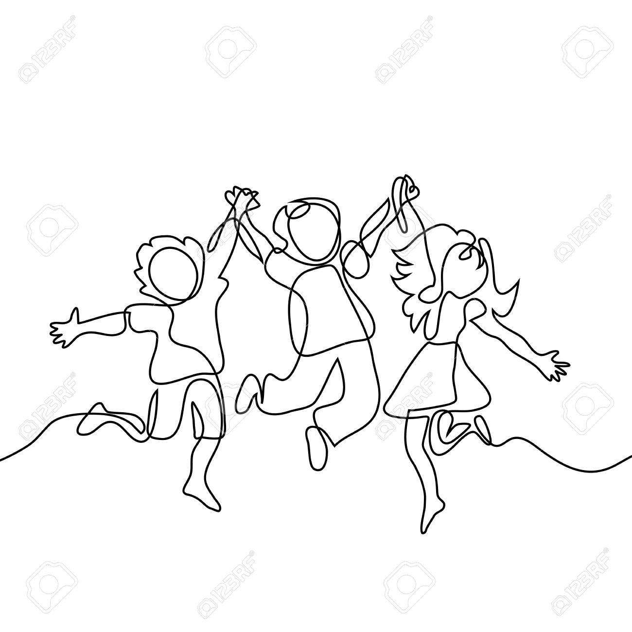 1300x1300 Happy Jumping Children Holding Hands. Continuous Line Drawing