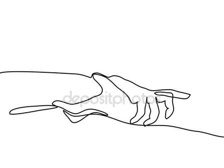 449x337 Continuous Line Drawing Of Holding Hands Together Stock Vector