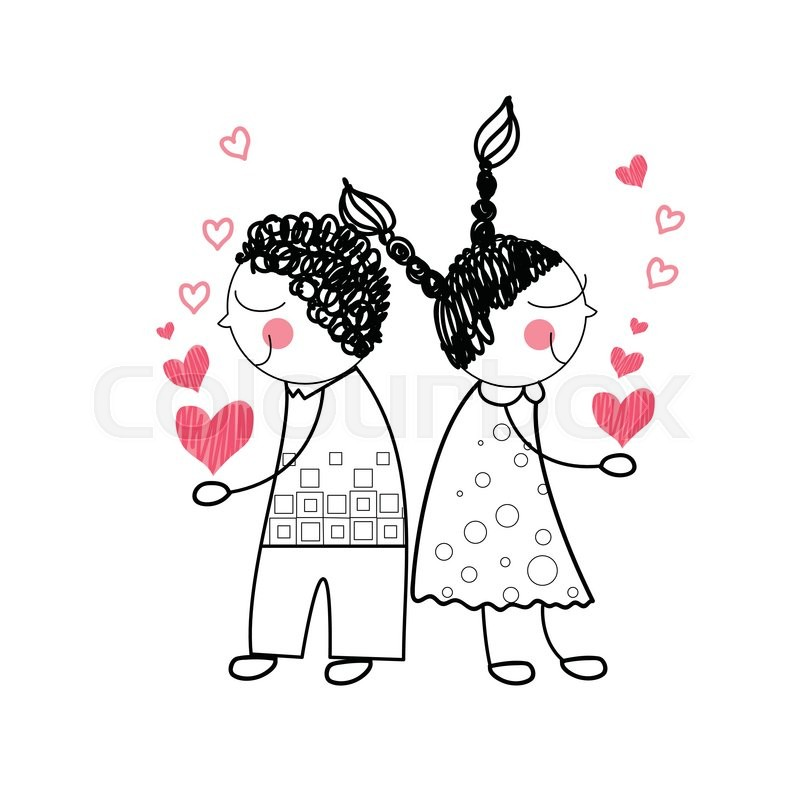 800x800 Couple Red Heart Shape Love Holding Hands Drawing Simple Line