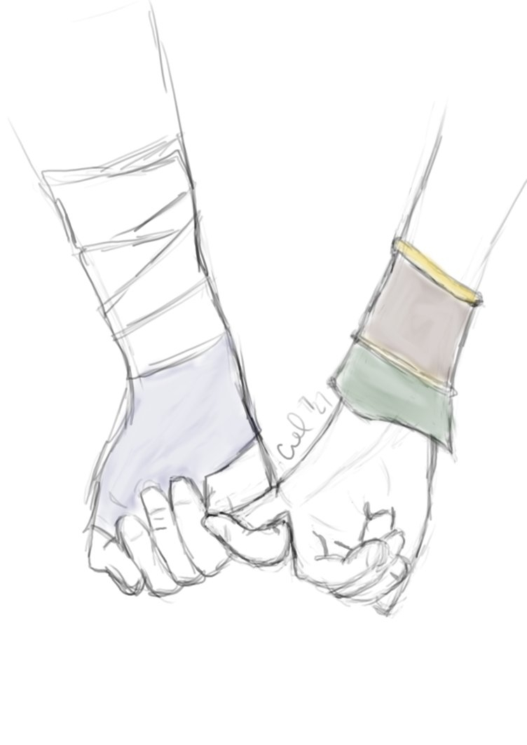 752x1063 Drawing Couple Holding Hands Friends