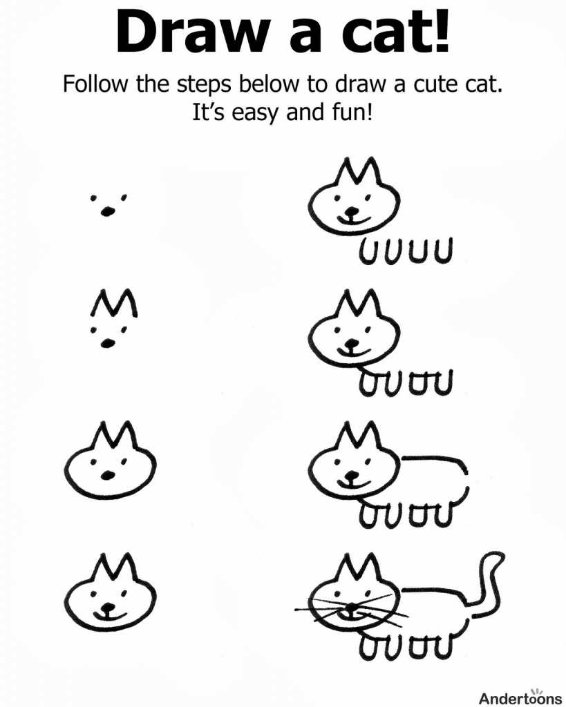 819x1024 How To Draw A Cat For Kids Kindergarten Holding Hands And Sticking
