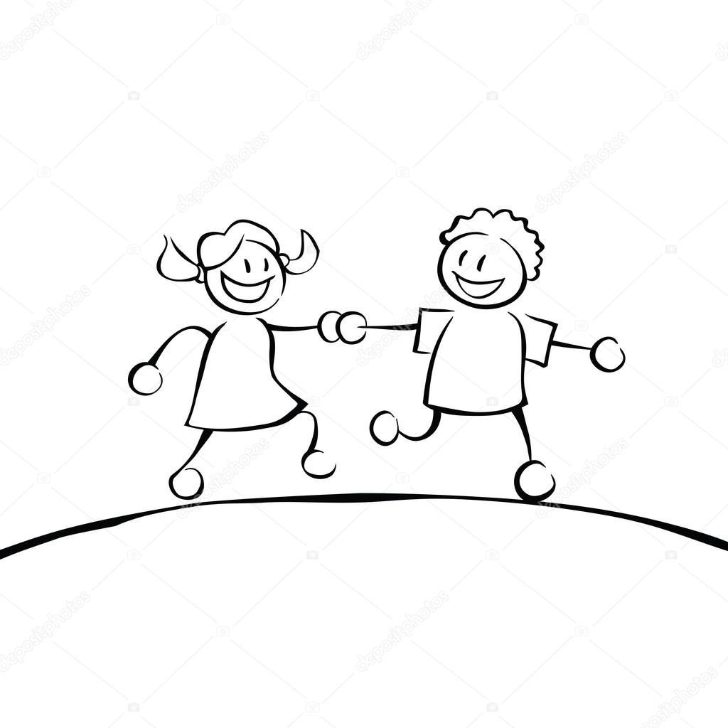 1024x1024 Two Black And White Kids Holding Hands Stock Vector Noedelhap