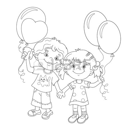 450x450 Coloring Page Outline Of Cartoon Girls Holding Hands With Balloons