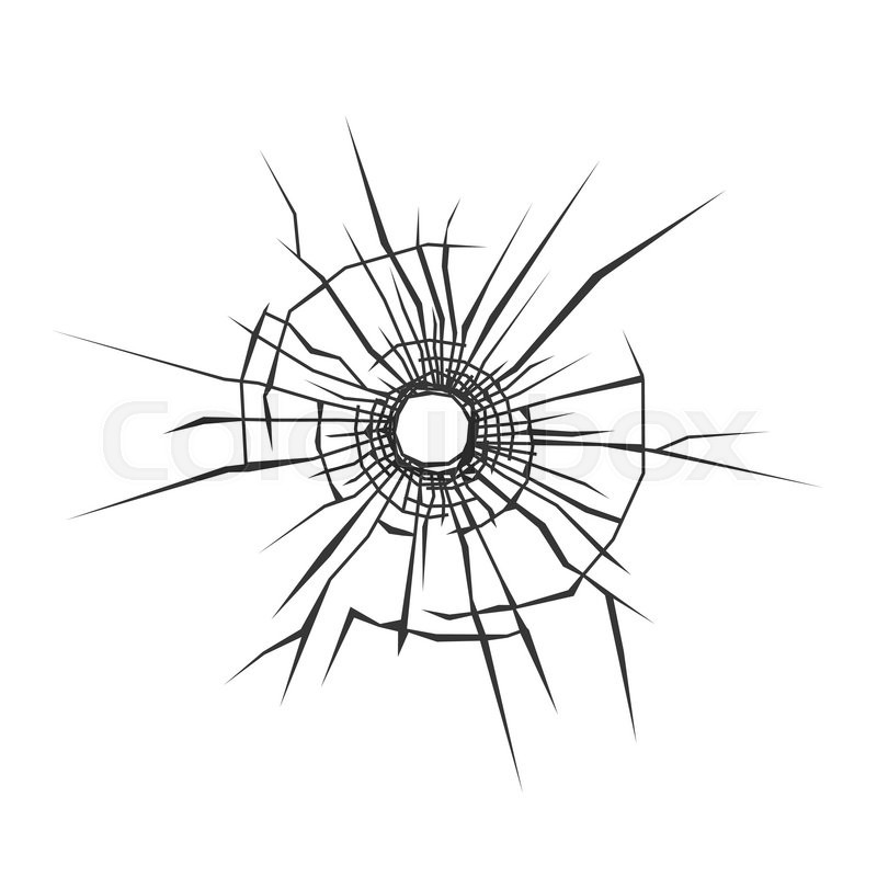 800x800 Bullet Hole In Glass. White Background. Vector Illustration