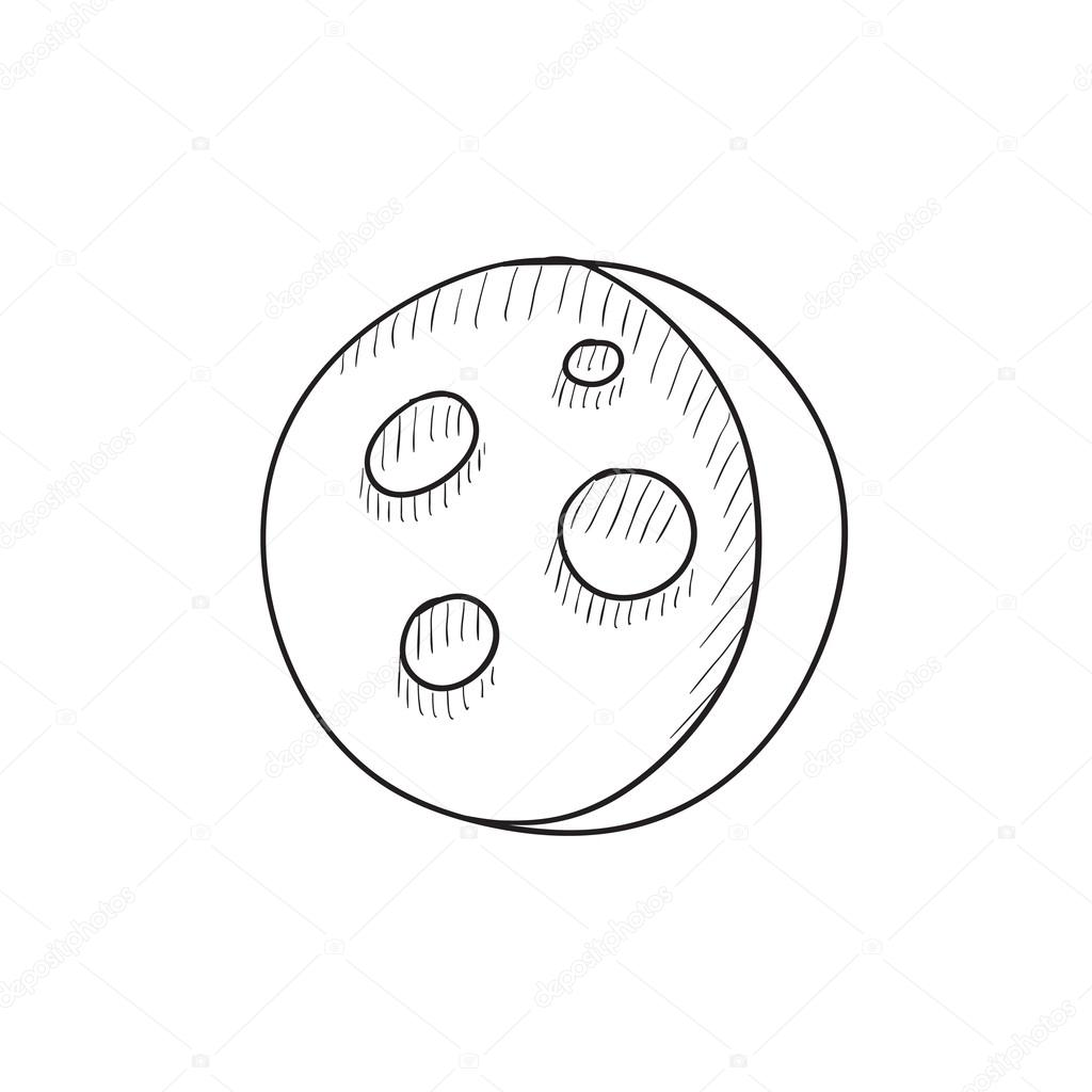 1024x1024 Moon Surface With Cheese Holes Sketch Icon. Stock Vector