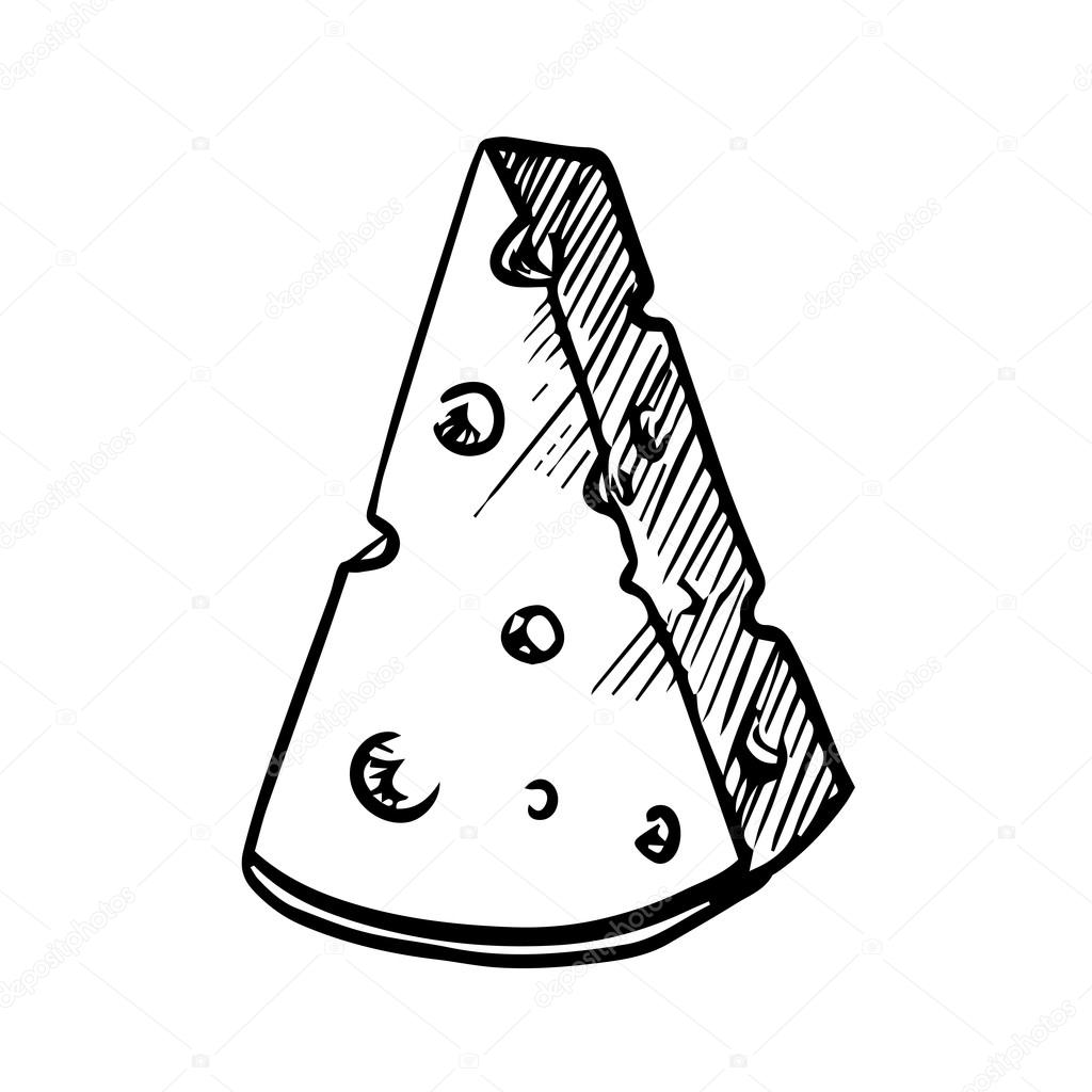 1024x1024 Slice Of Cheese With Holes, Sketch Image Stock Vector