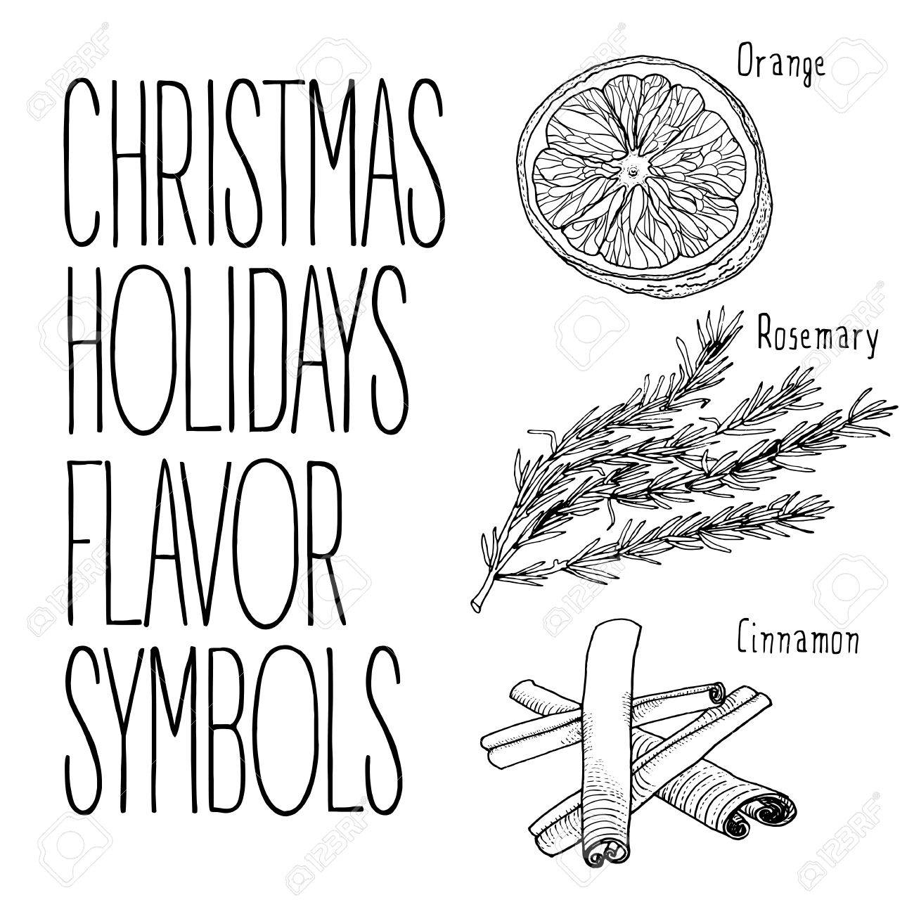 1300x1300 Christmas Flavors Recipe Vector Sketch Illustration. Hand Drawn