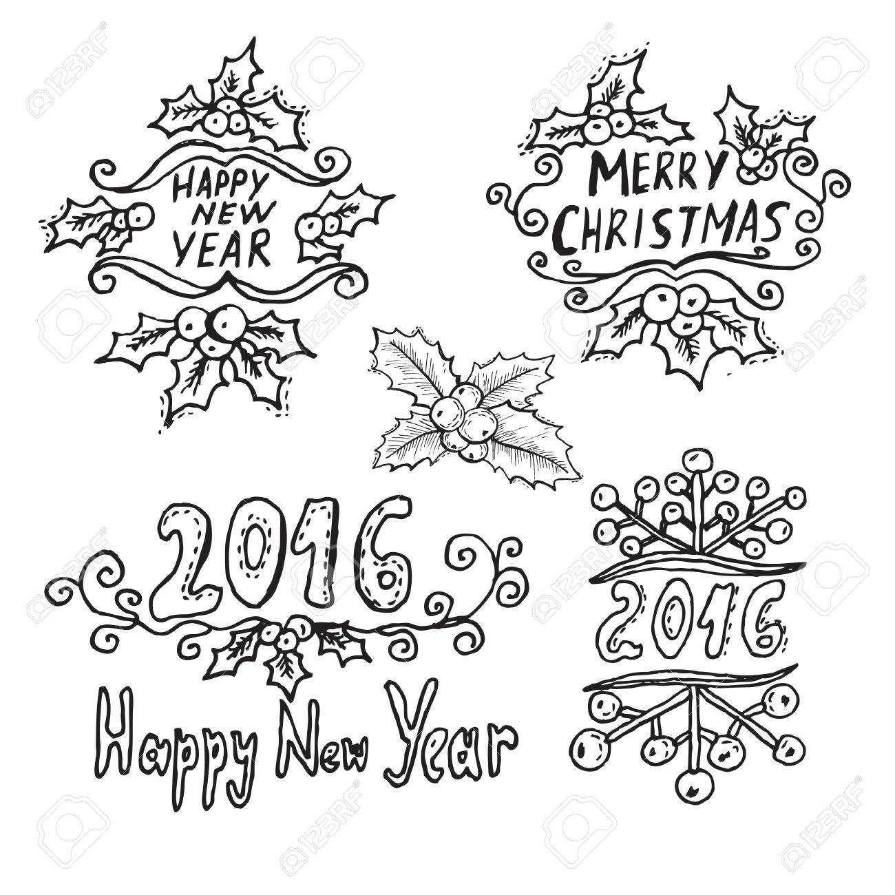 1300x1300 Hand Drawn Decorative Winter Holidays Messages With Holly Berries