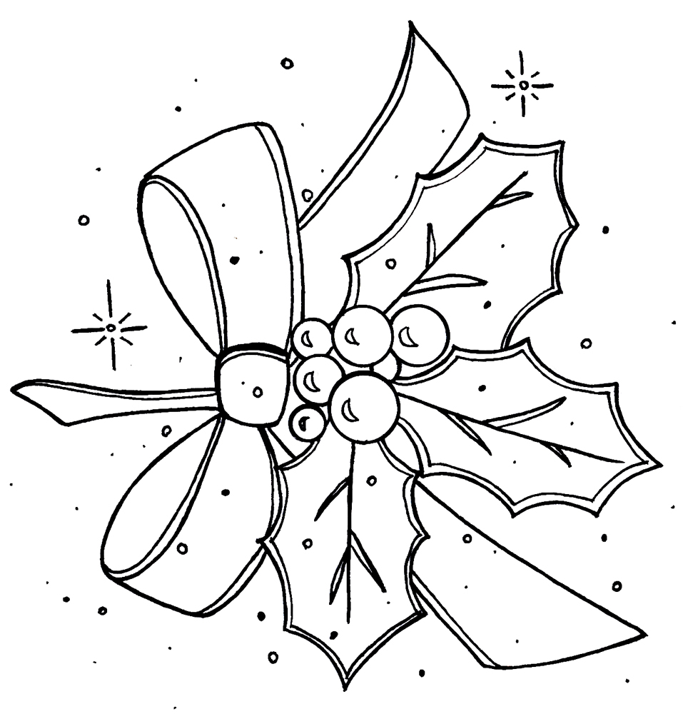 978x1000 Holly And Berries Coloring Pages