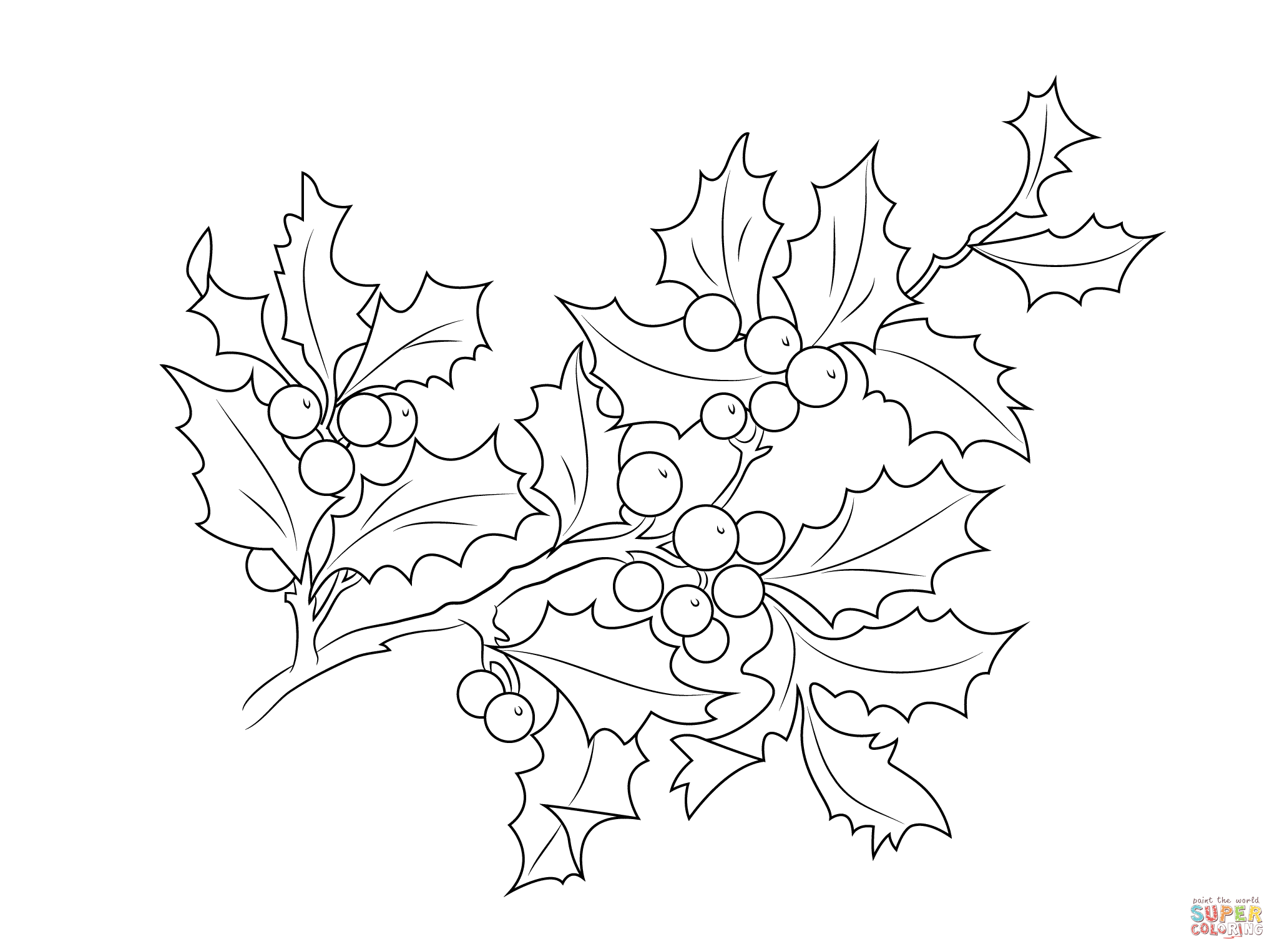 2046x1526 Christmas Holly Berries Coloring Page Free Printable Pages