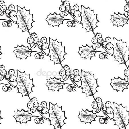 450x450 Christmas Holly Berries Horizontal Seamless Pattern Background
