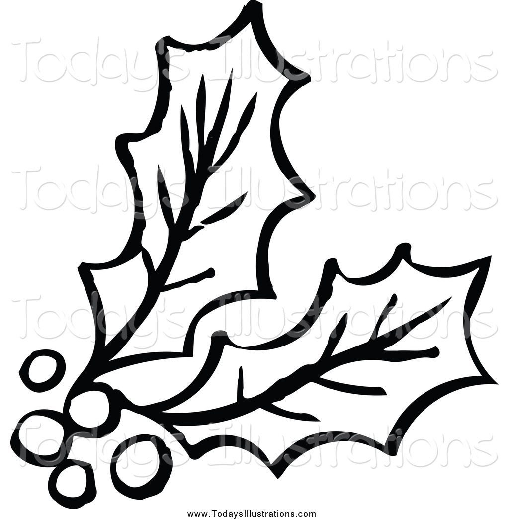 1024x1044 Clipart Of A Black And White Berries And Holly By Nl Shop