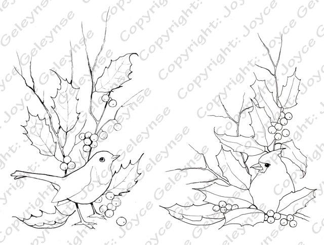 640x483 Digital Stamps, Christmas, English Robin, Cardinal With Holly