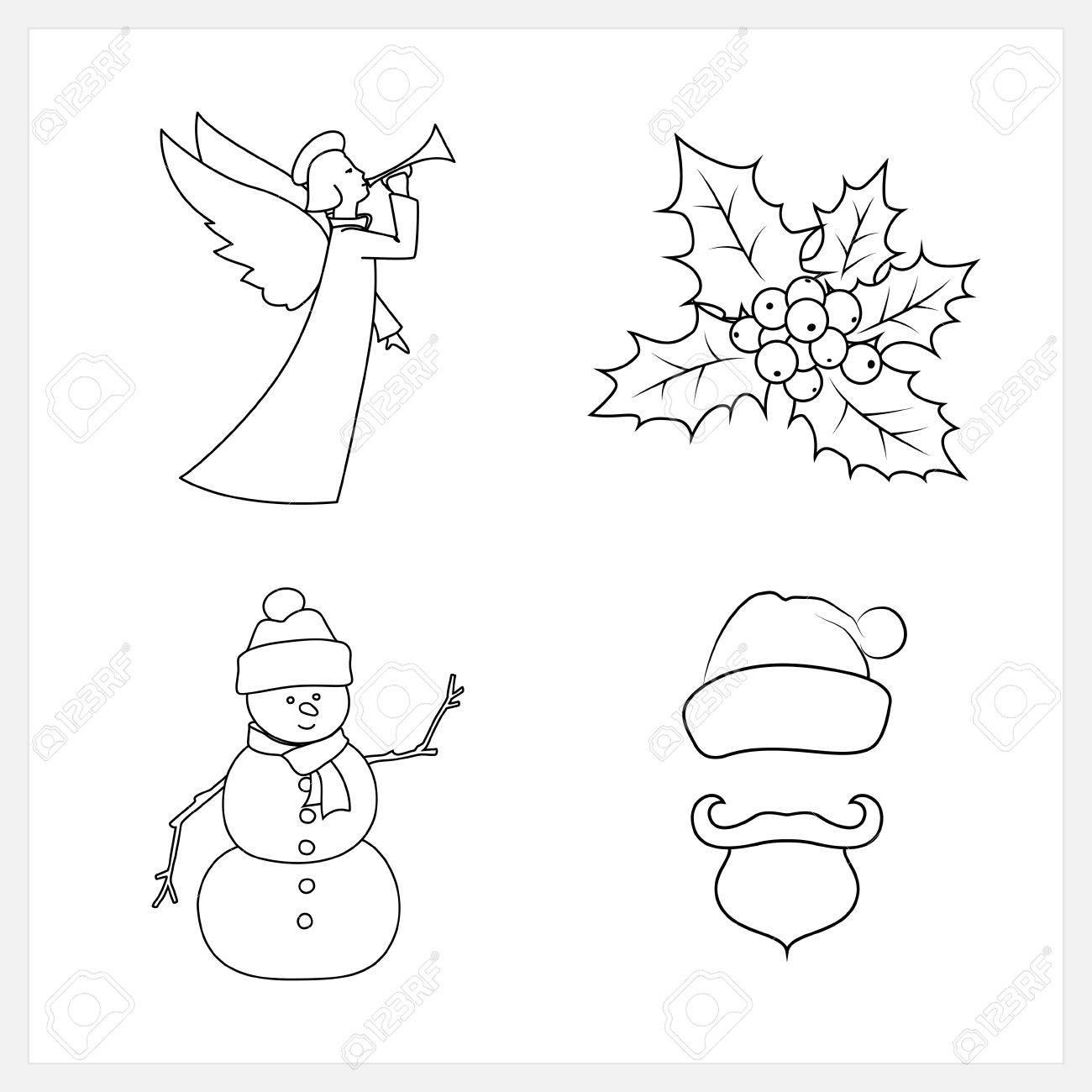 1300x1300 Set Of Christmas Icons, Christmas Angel, Christmas Holly Berry