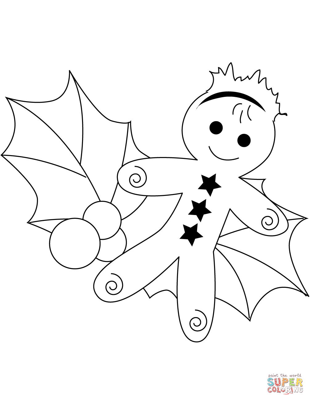 1005x1300 Christmas Gingerbread And Holly Leaf Coloring Page Free